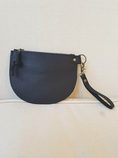 Black Half Moon Leather Pouch with Wristlet