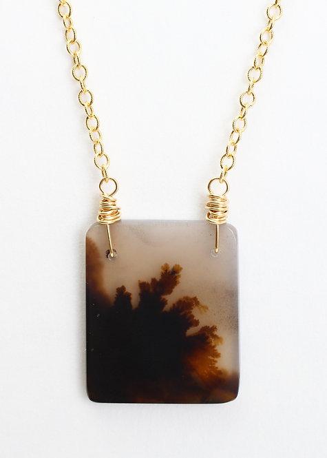 Square (Black) Dendritic Quartz Pendant Necklace