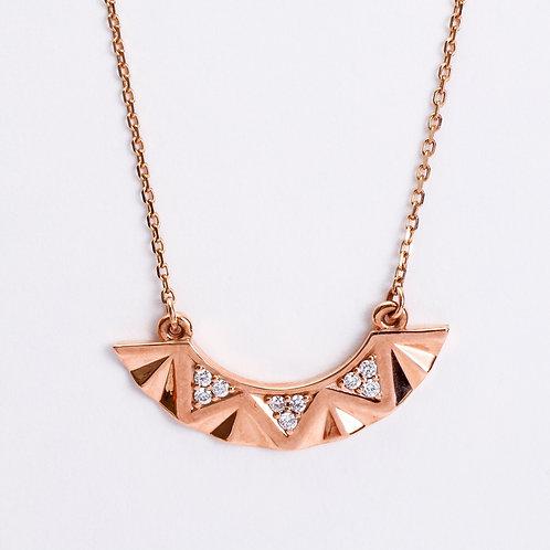 14K Rose & Diamond Curved Geometric Bar Necklace