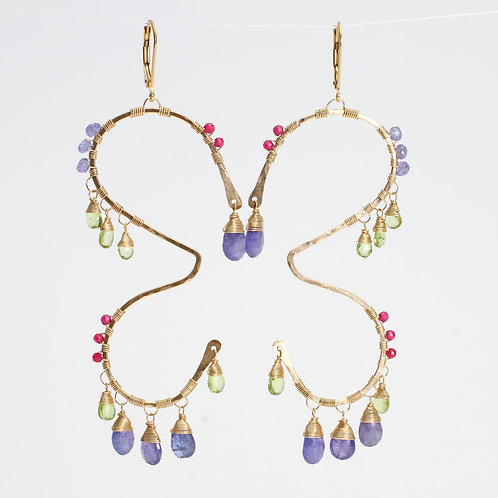 Butterfly Earrings w/ Tanzanite, Peridot & Rhodolite Garnet