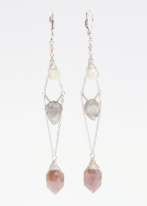 Pink Moonstone, Feldspar, and Silverite Drop Earrings