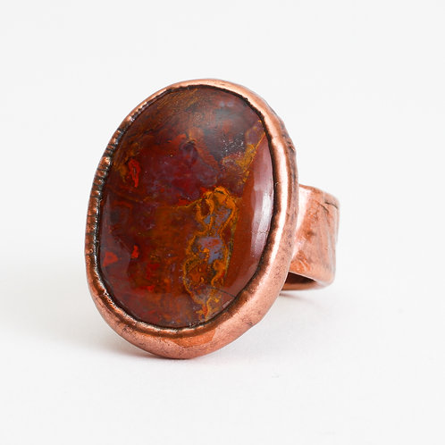Copper Electroformed Seam Agate Ring