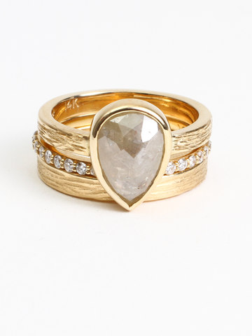 Grey Pear Diamond Wedding Ring Set
