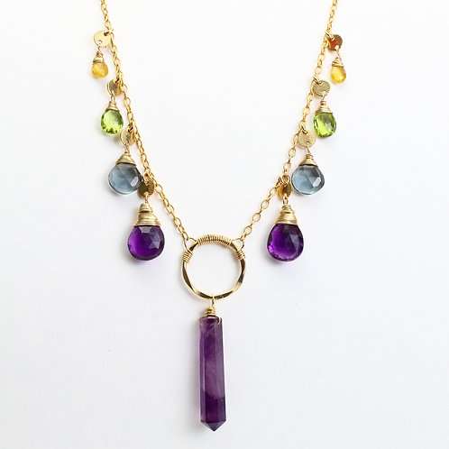 Fluorite, Amethyst, Hydro Quartz, Peridot, and Yellow Sapphire Necklace