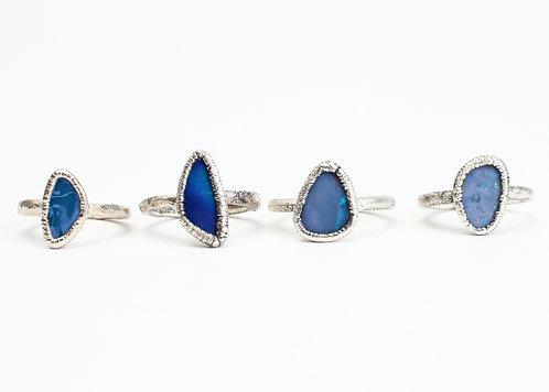 Fine Silver Blue Opal Ring