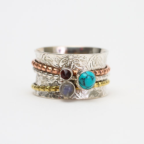 Spinner Ring with Moonstone, Turquoise, Garnet