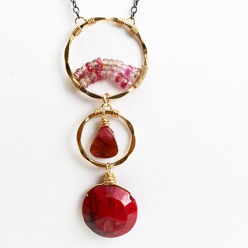 Ruby, Watermelon Tourmaline, & Pink Sapphire Necklace