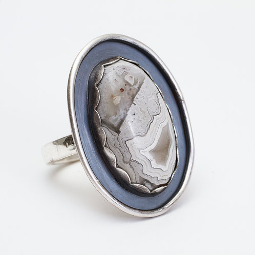 Crazy Lace Agate Shadowbox Ring