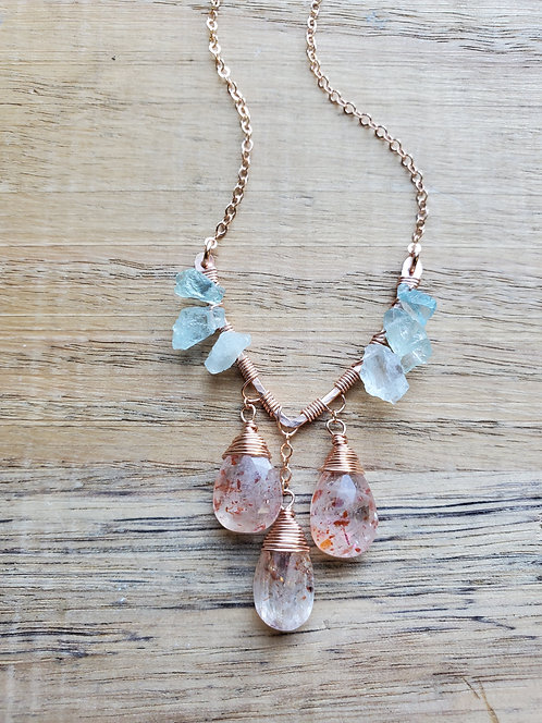 Raw Aquamarine & Sunstone V Necklace