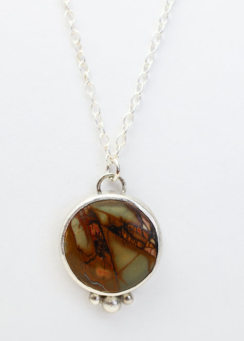 Round Red Creek Jasper Necklace with Silver Ball Accents