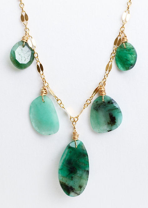 Fancy Chain with Emerald Slices Necklace