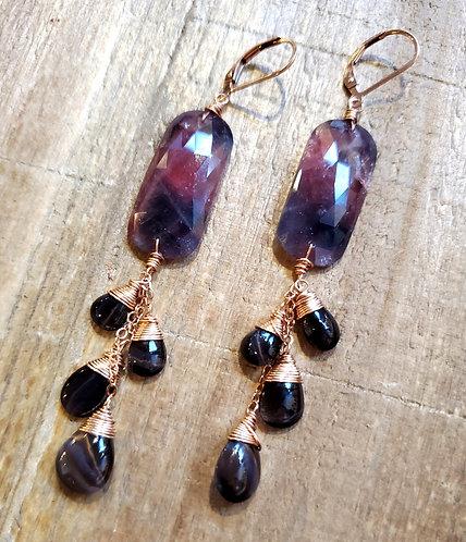 Purple Sapphire & Grey Cat Eye Moonstone Earrings
