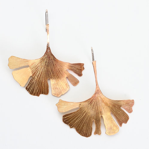 Hand Sawn and Textured Brass Gingko Leaf Threader Earrings