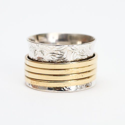 Etched Ring with Brass Spinners