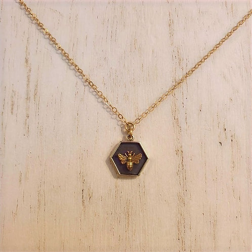 Shadow Box Bee Charm Necklace
