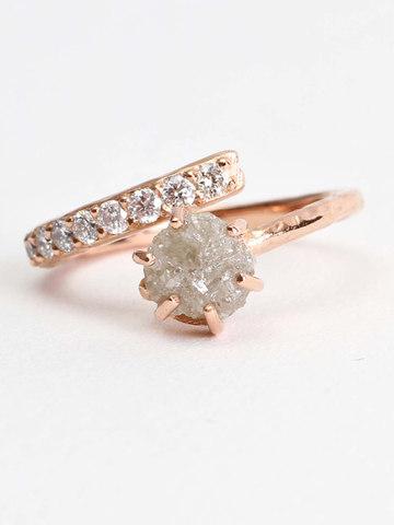 Polished Raw Diamond & Pave Diamond Engagement Ring