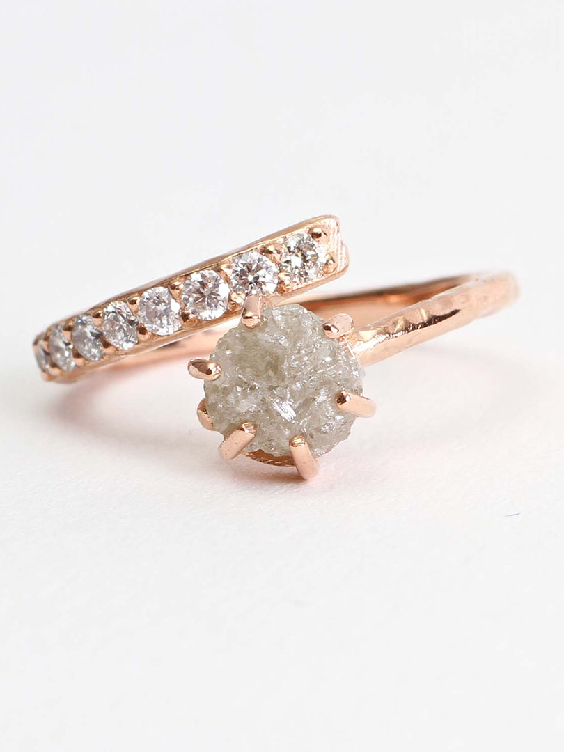 Polished Raw Diamond & Pave Diamond Engagement Ring