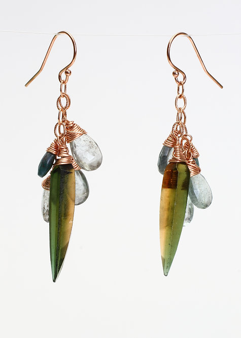 Olive Quartz, Moss Aquamarine, & Ruby Zoisite Earrings