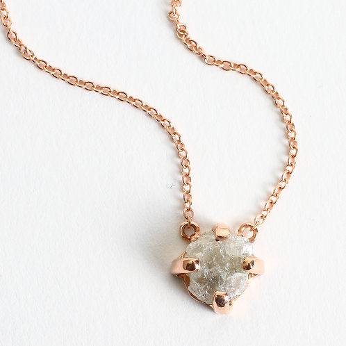 Raw Diamond & 14K Rose Gold Necklace