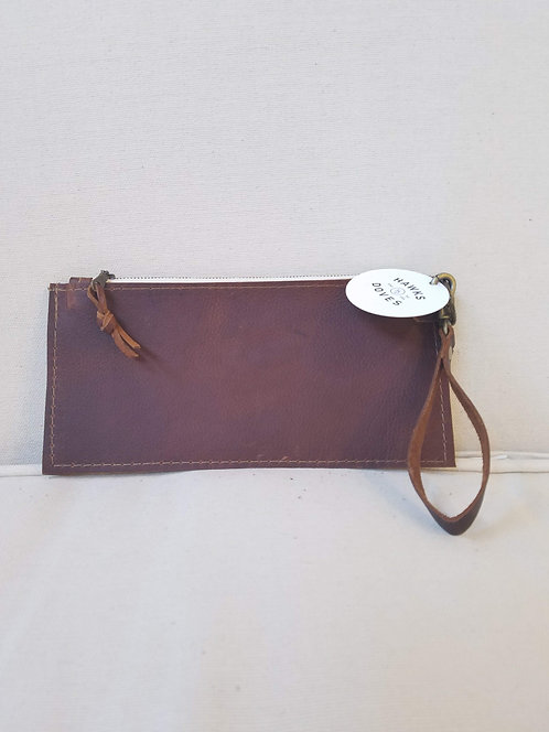 Brown Zip Leather Pouch Wristlet