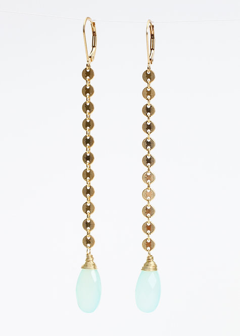 Circle Chain Earrings with Mint Chalcedony