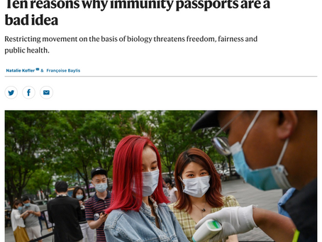 Government push for Immunity Passports will result in discrimination and inequality