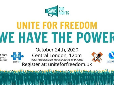 Huge numbers marched for freedom again this Saturday 24th October 2020...