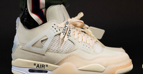 """Fotos On-Feet e previsão de lançamento para o Air Jordan 4 x Off-White """"Sail"""""""