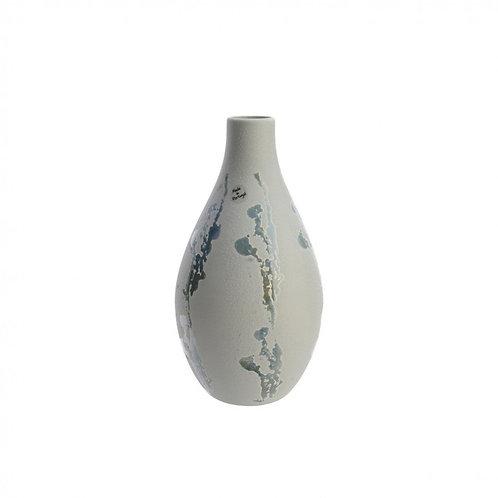 Vase Steingut Blumenstempel Grau 17x31