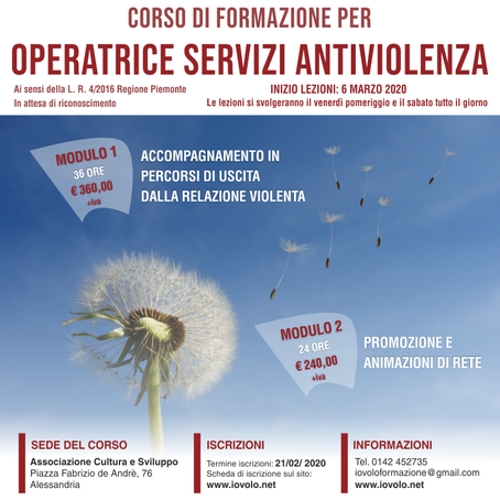 Corso Operatrice Servizi Antiviolenza