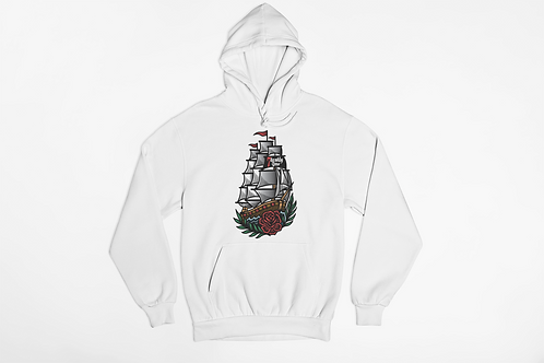HMS 7 Deadly Sins White Hoodie, tattoo inspired clothing