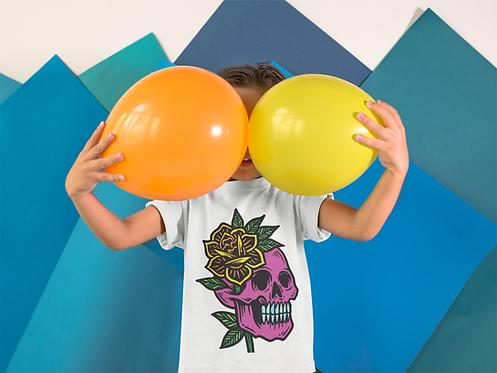 Skull Flower Tattoo Print Kids T-shirt in White