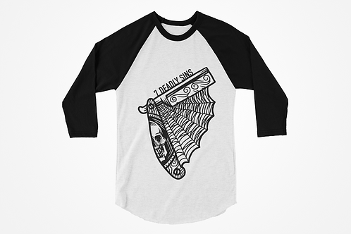 Razor Raglan T-shirt in black & white by 7 Deadly Sins Clothing, tattoo inspired clothing