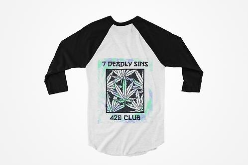 420 Club Raglan T-shirt by 7 Deadly Sins Clothing