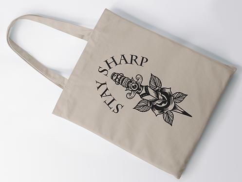 Stay Sharp Tattoo Print Tote Bag