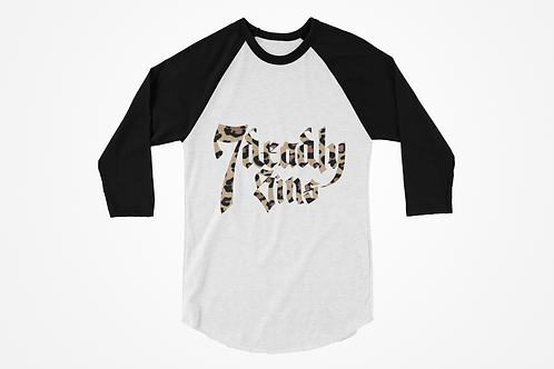 7 Deadly Sins Leopard Print Logo Raglan T-shirt in Black & White