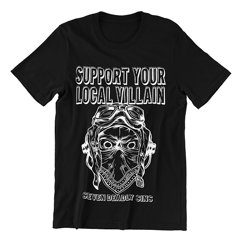Support Your Local Villain T-shirt in black