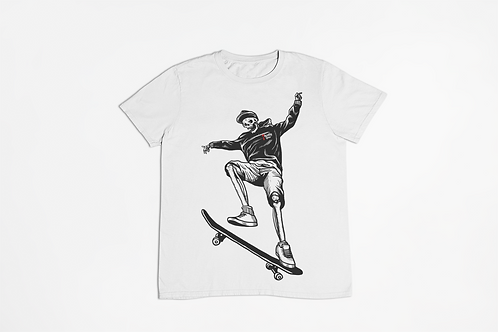Skateboard Skeleton White T-shirt
