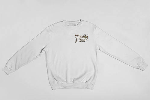 Leopard Print Logo on White Sweatshirt by 7 Deadly Sins Clothing