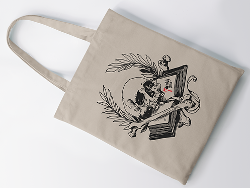 Book of Mortality Print Tote Bag