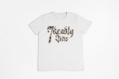Leopard Logo White T-shirt Large Front Print