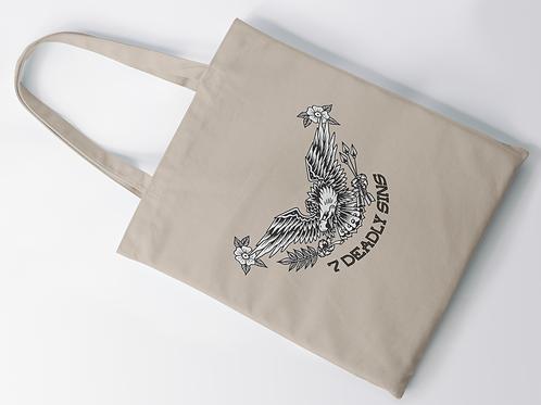 Eagle & Flowers Tattoo Print Tote Bag