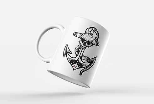 Anchor Skull Tattoo Print Mug