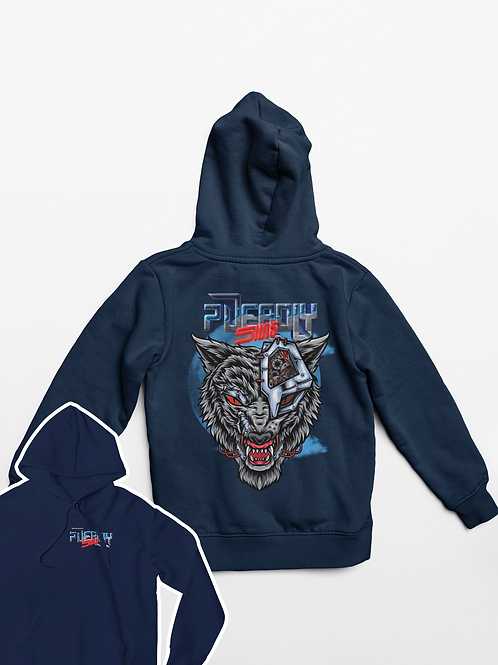Cyber Wolf Tattoo Alternative Streetwear Hoodie