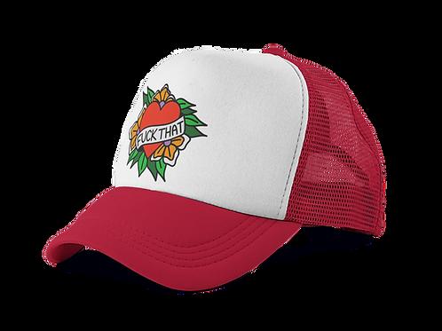 Fuck That Tattoo Print Trucker Hat in Red