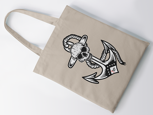 Anchor Skull Tattoo Print Tote Bag