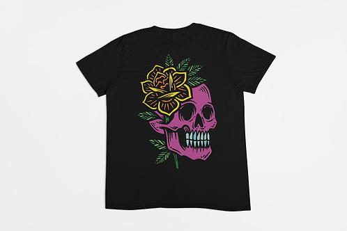 Skull Flower Back Print T-shirt in Black