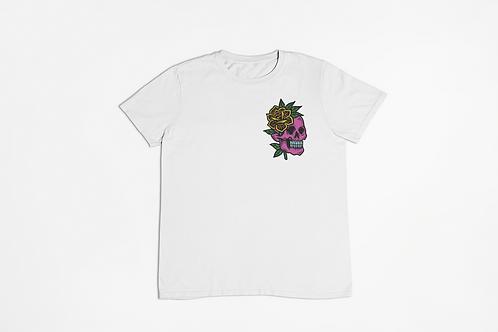 Skull Flower Tattoo Pocket Logo T-shirt in White