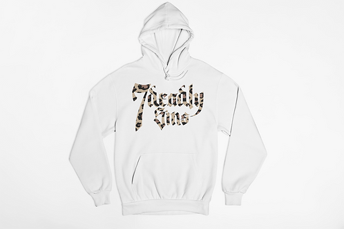 Unisex White Hoodie with Leopard Print Logo