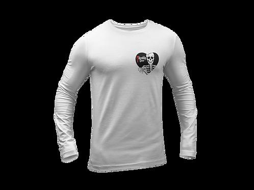 Skeleton Heart Print Long Sleeve White T-shirt